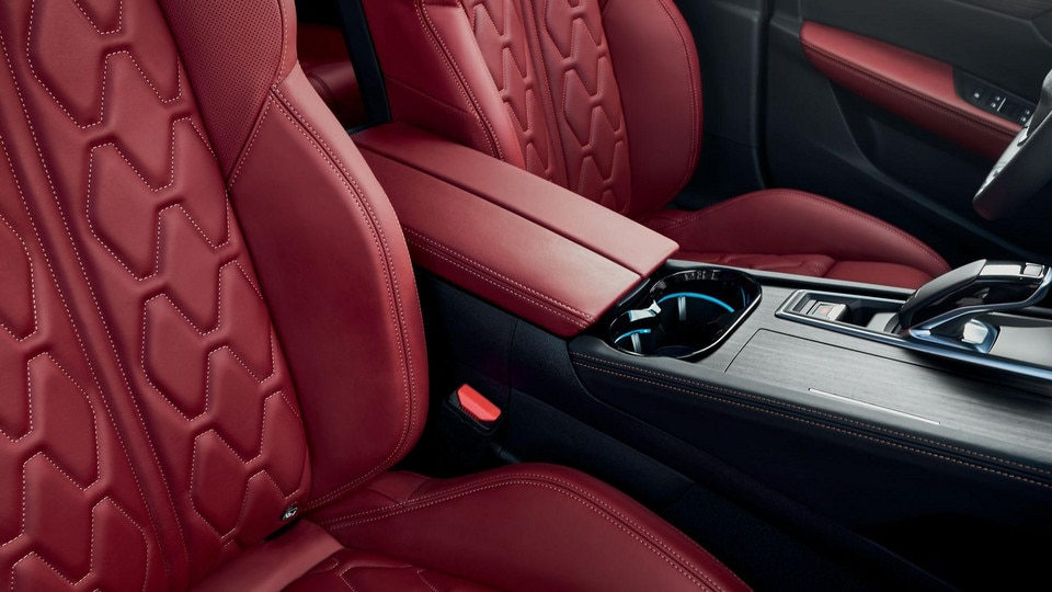New PEUGEOT 508 SW estate, high-end trim with red full grain leather with aikinite top-stitch pattern