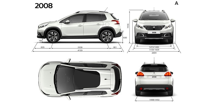 The 2008 suv from peugeot technical specifications and engines - Layouts hoogte ...