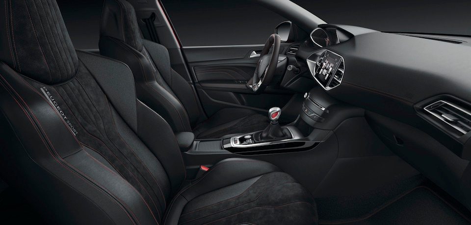discover the interior design of the 308 gti by peugeot sport. Black Bedroom Furniture Sets. Home Design Ideas